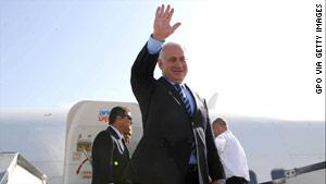 Israeli Prime Minister Benjamin Netanyahu boards a plane in Israel on Sunday ahead of his Washington visit.