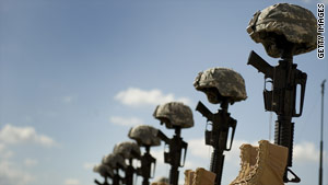 Boots, rifles and helmets stand tribute to the military victims of the Fort Hood massacre.