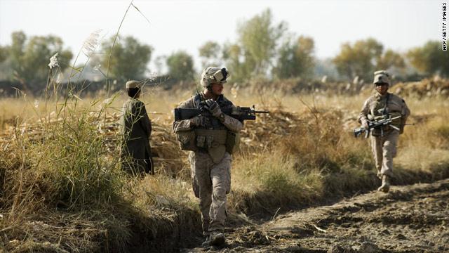 U.S. Marines patrol with Afghan soldiers in Helmand Province, Afghanistan.