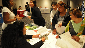 Job-seekers attend a job fair in Los Angeles, California, in early December.