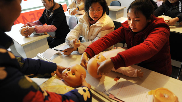 Would-be mothers learn parenting skills in China, apart from  changing nappies and feeding, they also learn about disciplining.