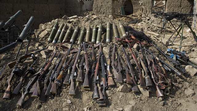 Weapons recovered during Pakistani military operations against Taliban militants are displayed in South Waziristan in 2009.