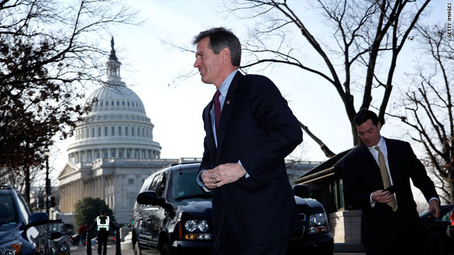 Sen.-elect Scott Brown arrives on Capitol Hill on Thursday.