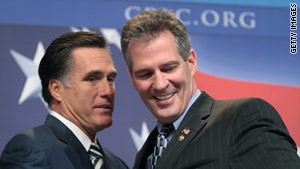 2008 presidential contender Mitt Romney, left, was introduced by the GOP's newest senator, Scott Brown of Massachusetts at CPAC yesterday.