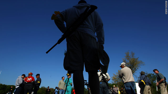 Gun rights groups gather at Fort Hunt Park for an 'Open Carry Rally' April 19 in Alexandria, Virginia.