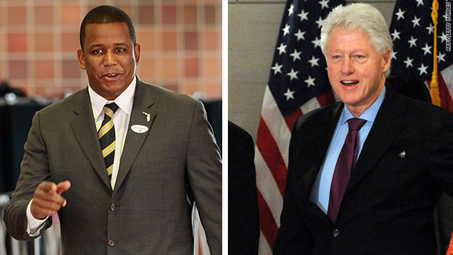 Rep. Kendrick Meek, left, is still running for the Senate in Florida, despite reports former President Clinton asked him to quit.