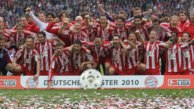 Bayern Munich celebrate winning the German Bundesliga for a record 22nd time.
