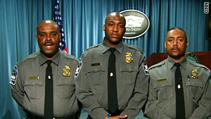 Officers Marvin Carraway, from left, Colin Richards and Jeffrey Amos recall Thursday's shooting at the Pentagon.