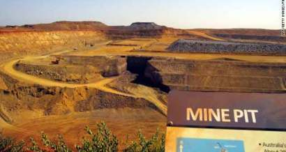 The pit at CITIC Pacific Mining's Sino Iron project in the Pilbara  region of Western Australia as seen on March 5