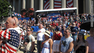 People gather for Independence Day festivities outside the National Archives in Washington, D.C.