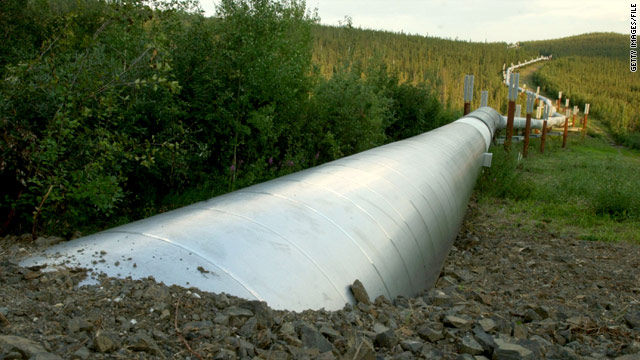 The Trans-Alaska Pipeline emerges a few miles north of the Yukon River in Fairbanks. It carries oil to the southern port of Valdez.