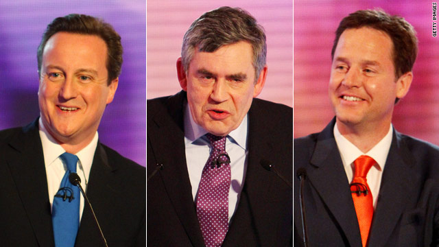 Gordon Brown, centre, is being challenged by David Cameron, left, and Nick Clegg.
