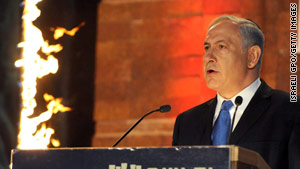Israeli leader Benjamin Netanyahu notes rising anti-Israeli  sentiment Sunday at a Holocaust remembrance ceremony.
