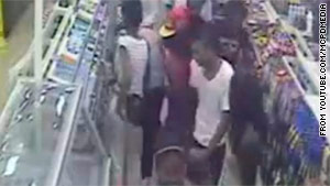 """Montgomery County Police posted a surveillance video on YouTube.com of the alleged """"flash mob"""" robbery."""