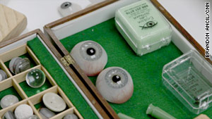 While prosthetic eyes were made of glass before World War II, most are formed with acryilic materials today.