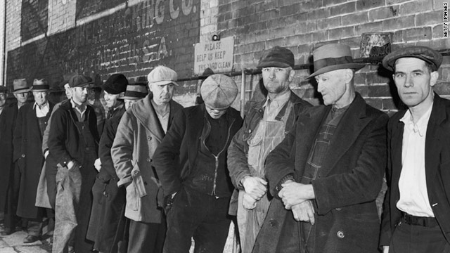Unemployed men in Iowa line up for food during the Great Depression, circa 1935.