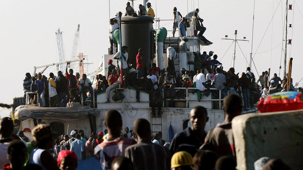 Haitians depart Port-au-Prince on a Ferry. (Getty Images)