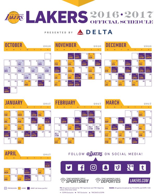 2016-17 Lakers Printable Schedule | Los Angeles Lakers