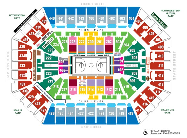 Bradley Center Seating Chart With Rows And Seat Numbers - Us cellular center seat map