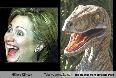 hilary clinton raptor from jurassic part totally looks like word association