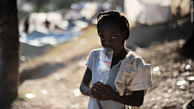 A girl at a makeshift camp Monday in Port-au-Prince.