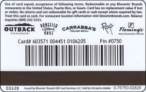 Gift Card Outback United States Of America Col