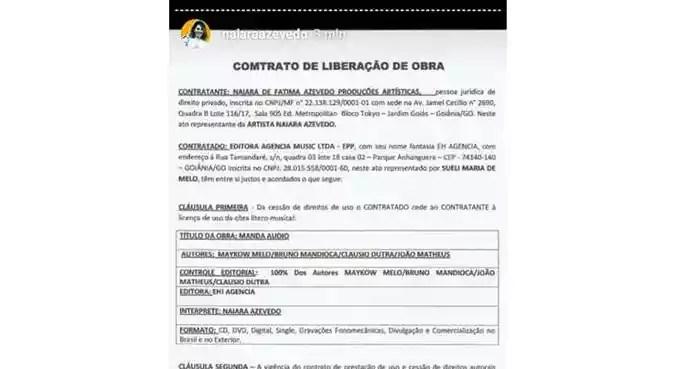 Naiara também postou o contrato de direito autoral da música, mas com erro de português (foto: Reprodução/Instagram)