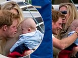 Prince Harry pulls a funny face at a friends baby while playing polo at a charity match in Berkshire