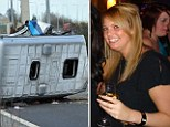 Stefanie Firth and the scene of a fatal crash on the M62
