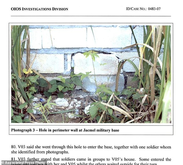This image made from part of a U.N. internal investigation document dated Nov. 19, 2007 shows a hole in a perimeter wall of the U.N. base in Jacmel, Haiti. The report describes a statement by a teenage girl who said she and others crawled through this opening to enter the base where they was sexually abused by peacekeeper soldiers