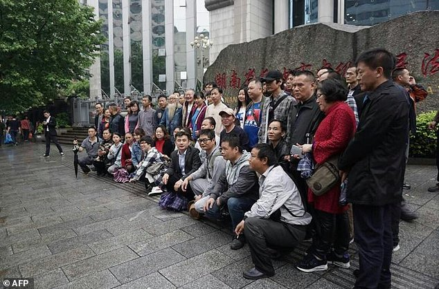 This photo taken on April 25, 2017 shows supporters of lawyer Xie Yang outside the Intermediate People's Court in Changsha, in China's Hunan province