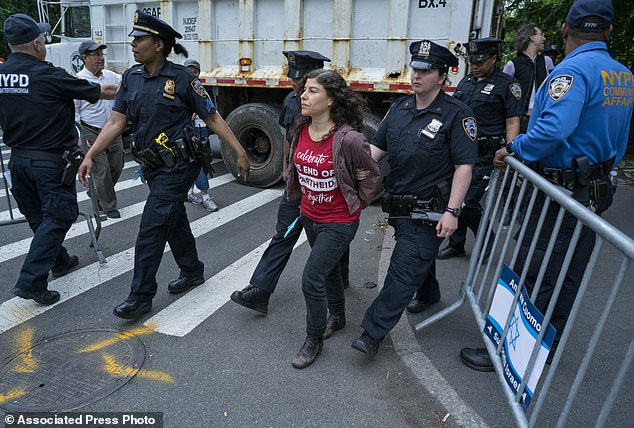 A demonstrator is taken into police custody near 5th Ave. and W. 65th Street during the 53rd annual Celebrate Israel Parade Sunday, June 4, 2017, in New York. (AP Photo/Craig Ruttle)