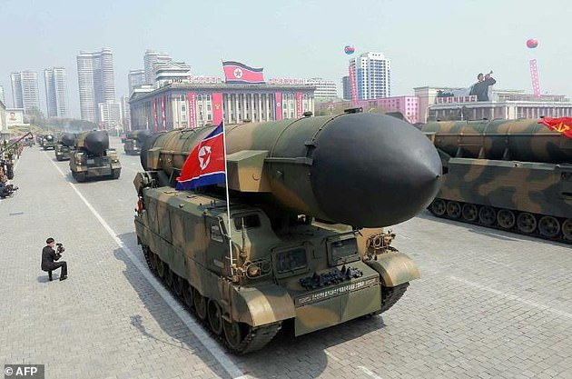 Ballistic missiles are displayed in Pyongyang