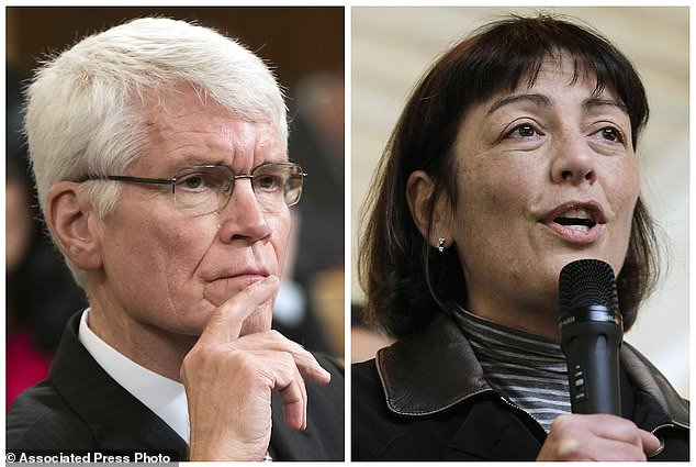 This photo combo of file images shows Thomas Barthold, left, chief of staff for the Joint Committee on Taxation, in Washington, D.C., and at right, Suzan DelBene in Kirkland, Wash. The House Republicans' tax-cut plan springs from a core argument: What's good for big business and the moneyed elite is inevitably good for the economy and everyone else. Their plan lets businesses play by a different set of rules than families and individuals. DelBene stressed the unequal treatment at a House Ways and Means Committee markup of the bill on Monday, Nov. 6, 2017. Barthold responded to questions from the committee during the session. (AP Photo/J. Scott Applewhite, Ted S. Warren)