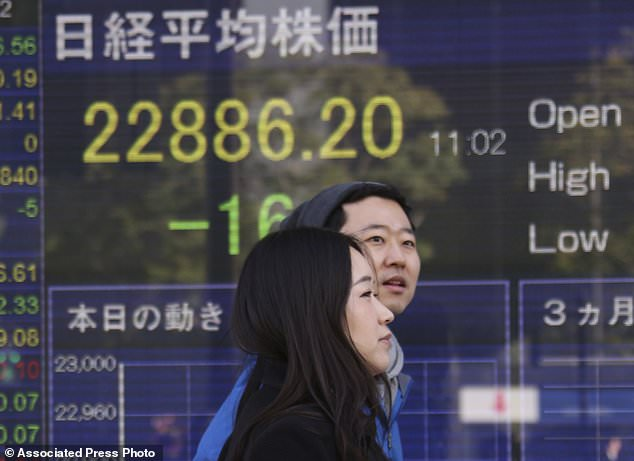 People walk by an electronic stock board of a securities firm in Tokyo, Monday, Dec. 25, 2017. Shares were lower in quiet trading Monday in the few Asian markets open during the Christmas holiday. (AP Photo/Koji Sasahara)