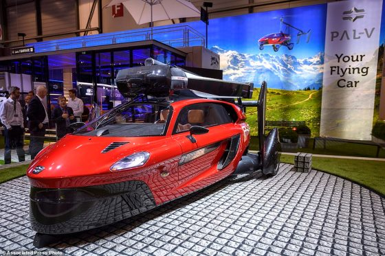 The world's first 'real' flying car has been unveiled at a motor show in Geneva (pictured). The £440,000 ($600,000) Pal-V Liberty can hit 112mph (180kph) on the roads and in the sky, according to Dutch firm Pal-V International
