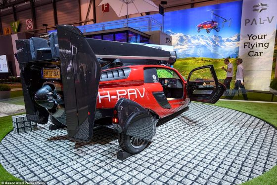 A production version of the twin-engine craft (pictured), which looks like a hybrid between a motorbike and a helicopter, has been displayed by the company for the first time ahead of the first cars shipping in 2019