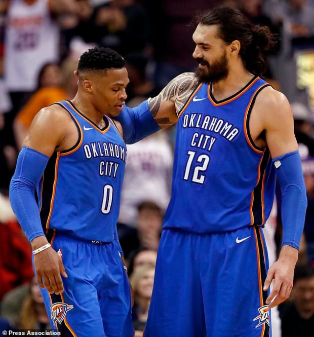 Russell Westbrook (left) has 99 career triple-doubles (Matt York/AP)
