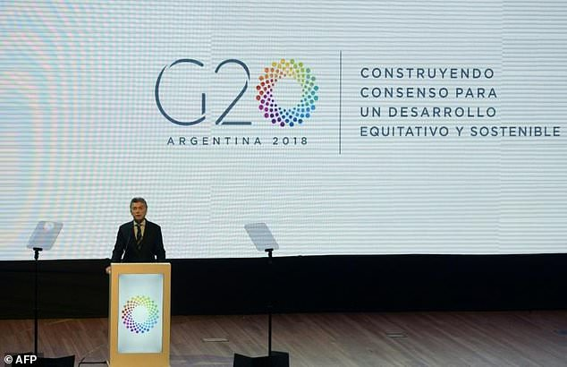 Argentina's President Mauricio Macri delivers a speech during the launching ceremony for his country's presidency of the G20
