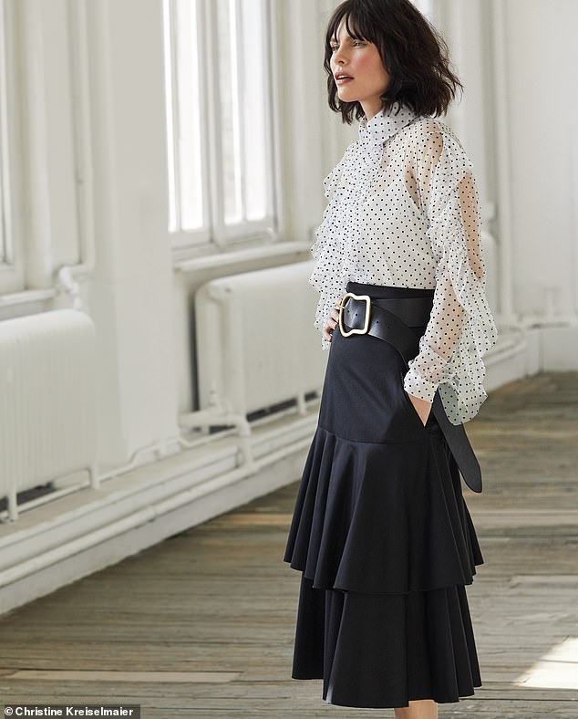 Blouse, £250, House of Holland, from net-a-porter.com. Skirt, £380, Anna Mason. Belt, £205, Dorothee Schumacher