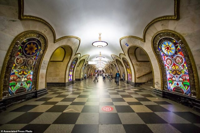 The Novoslobodskaya metro station, which has stained-glass window-like installations in the hall linking the platforms
