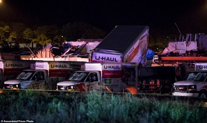 U-Haul trucks parked in Wilkes-Barre Township were tossed around in the severe winds, and in one bizarre instance thrown on top of each other as above