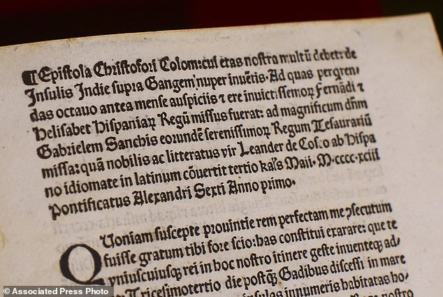 It's the third such return in recent years after US investigators determined that several authentic copies of the Columbus letter (pictured) had been stolen from libraries across Europe and replaced with forgeries without library officials' knowledge