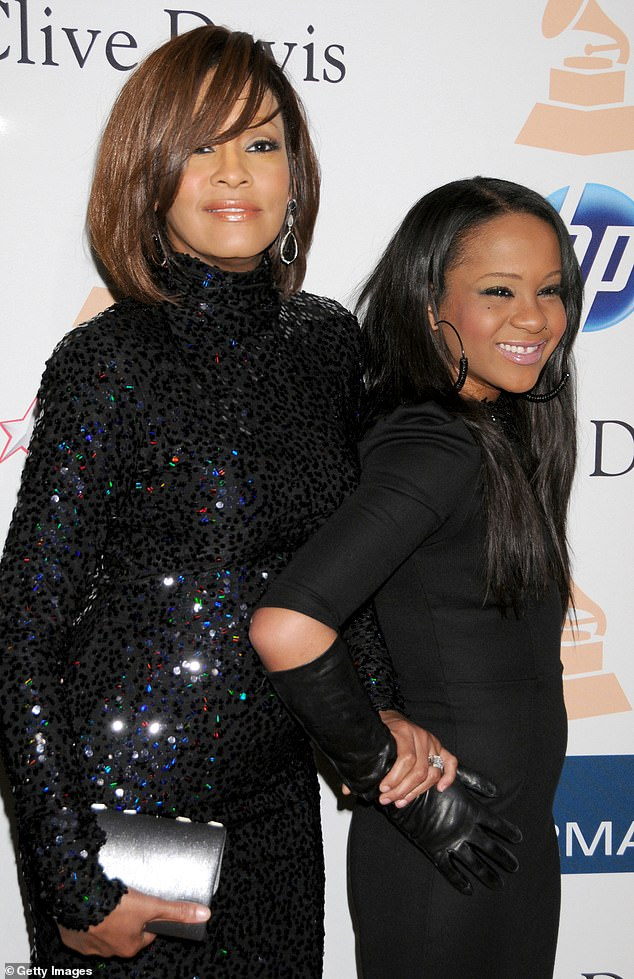 Whitney with daughter Bobbi Kristina in 2011. The 22-year-old died in 2015, six months after being found unconscious in her bathtub, in an eerie echo of her mother's demise
