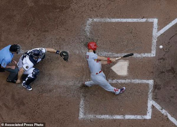 Weaver, Martinez pace Cards past Brewers   Daily Mail Online