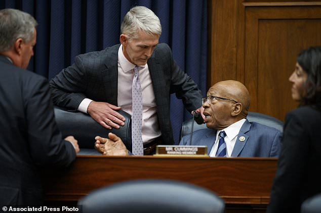 "Chairman of the Oversight and Government Reform Committee Rep. Trey Gowdy, R-S.C., left, speaks with the ranking member of the committee Rep. Elijah Cummings, D-Md., during a hearing with FBI Deputy Assistant Director Peter Strzok on ""Oversight of FBI and DOJ Actions Surrounding the 2016 Election,"" on Capitol Hill, Thursday, July 12, 2018, in Washington. (AP Photo/Evan Vucci)"