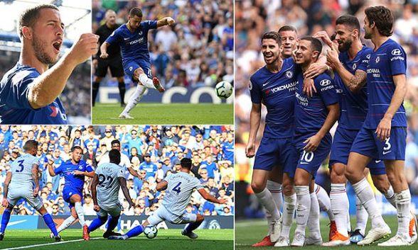نتيجة بحث الصور عن Hazard reigns supreme with sensational hat-trick as Chelsea recover from shock Bamba opener to continue 100% start