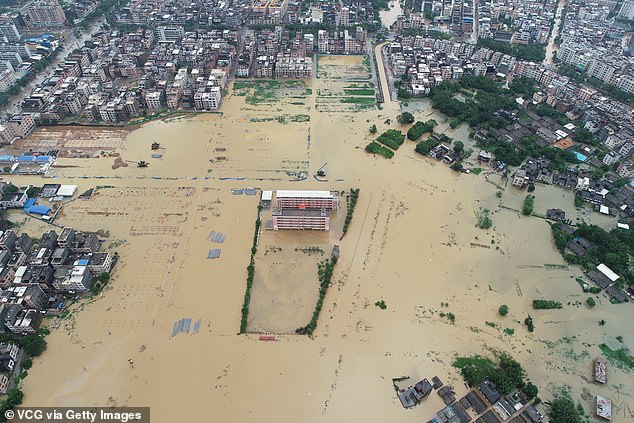 Aerial view of a flooded road is seen in Yangchun, China's Guangdong Province, yesterday after typhoon Mangkhut, dubbed 'King of the Storms', made landfall in the province on Sunday