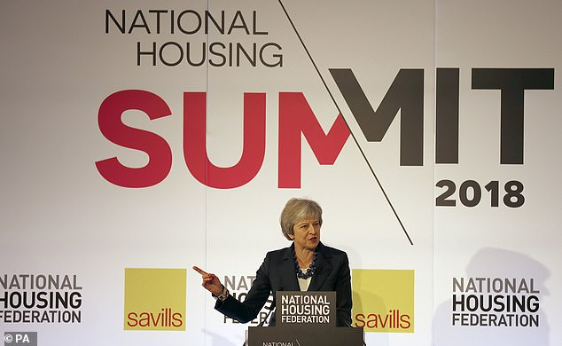 Mrs May delivered a speech to the National Housing Federation yesterday (pictured) before heading for the summit