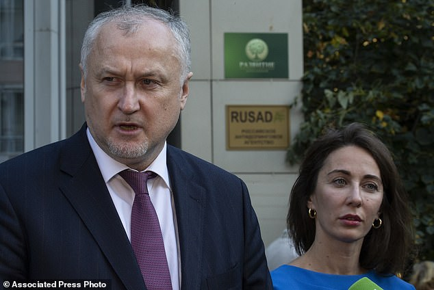 Russian National Anti-doping Agency RUSADA head Yuri Ganus, left, and Margarita Pakhnotskaya, deputy CEO of Rusada speak to journalists in Moscow, Russia, Thursday, September 20, 2018. The World Anti-Doping Agency has reinstated Russia, ending a nearly three-year suspension caused by state-sponsored doping